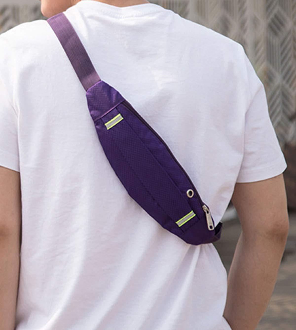skudy Impermeable paño de Oxford riñonera con Toma para Auriculares Mini Bolsa de Gimnasio para Hombre Mujer Portátil Sling Bag, Violeta: Amazon.es: ...