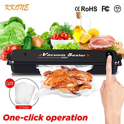 KKONE Vacuum Sealer Machine, New Food Vacuum Packing Machine With Automatic Vacuum Air Sealing System For Kitchen Dry Moist Food Preservation Plus 15pcs Sealer Bags