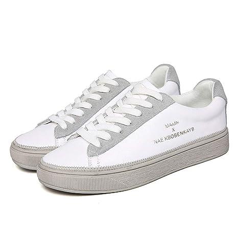 YAN Calzado Casual para Mujer Zapatos de Cubierta de Cuero con Cordones Zapatos Deportivos de bajo
