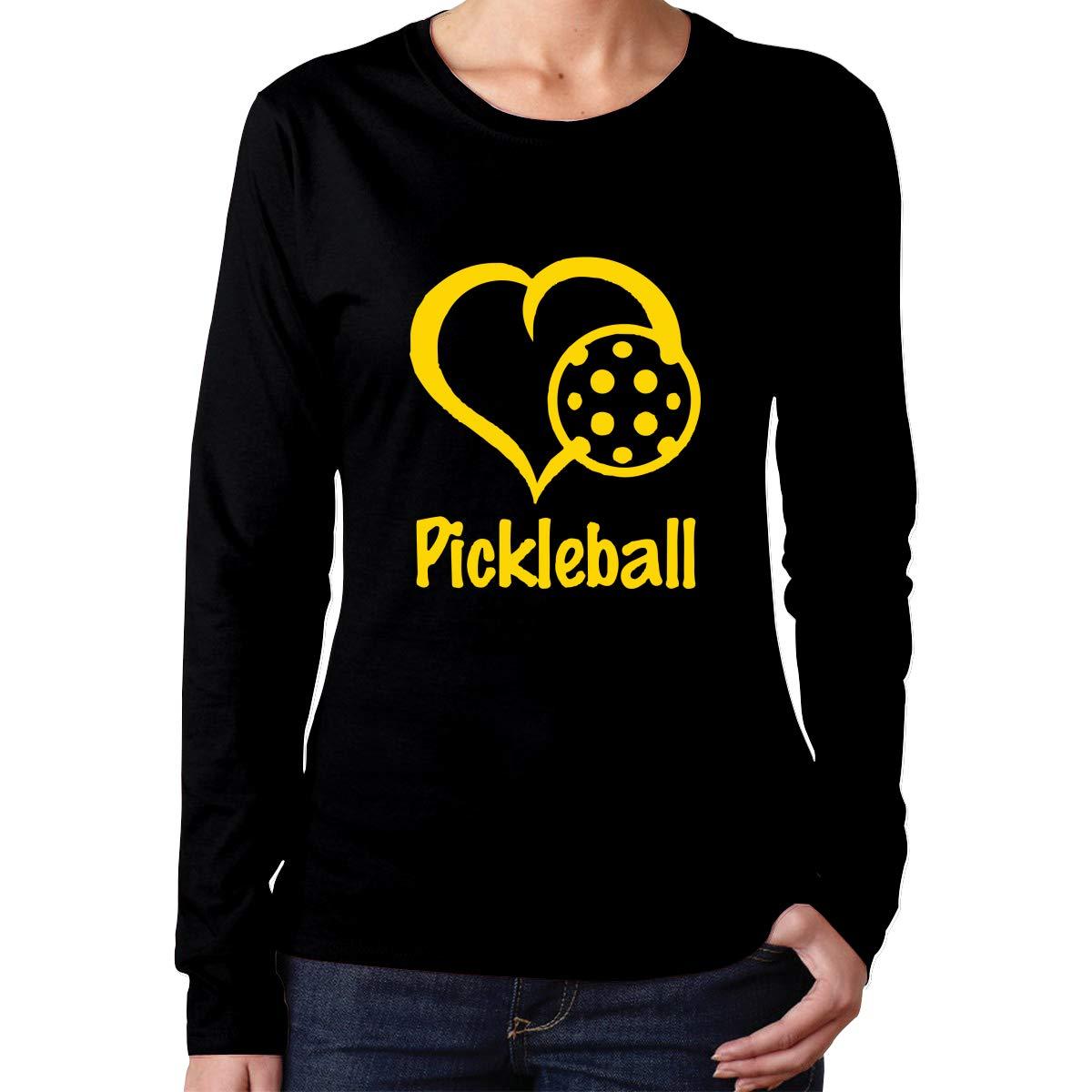 Womens Heart Love Pickleball-1 ComfortSoft Long-Sleeve T-Shirt Cotton Tee