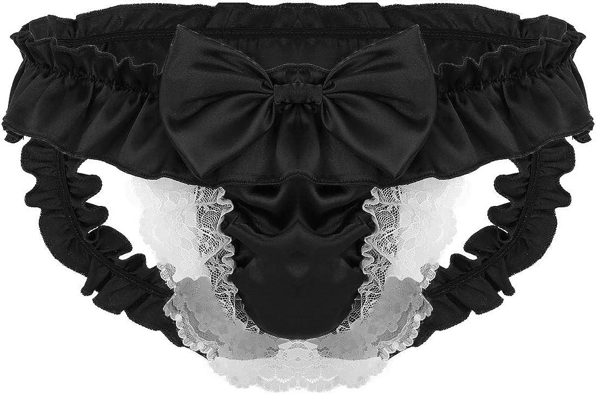 UK Sissy Men Lace Underwear Satin Panties Low Rise Bugle Pouch Crossdress Briefs