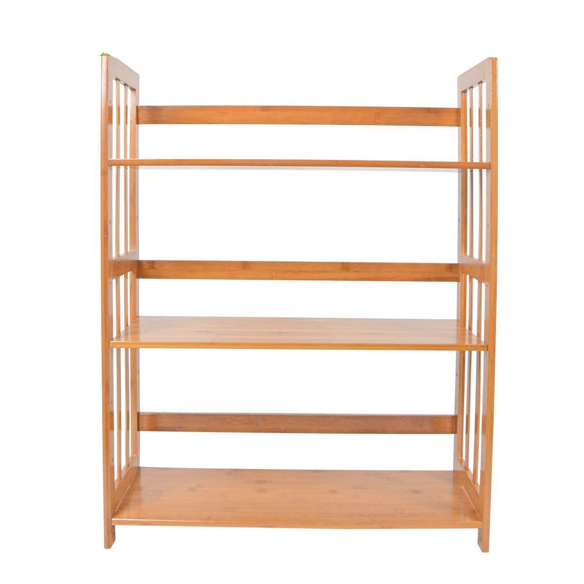 Saim Adjustable Bamboo Bookshelf Multifunctional Bathroom Kitchen Living Room Holder 3-Tier Utility Storage Rack Shelf