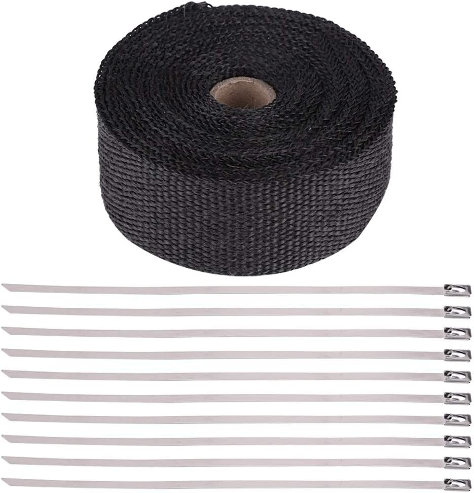 Beennex 16FT Black High Heat Insulation Exhaust Pipe Wrap Tape Cloth for Car Motorcycle