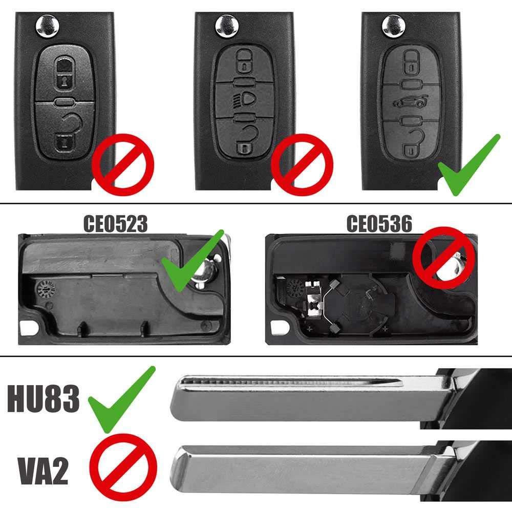 Carcasa Llave Mando de 3 Botones Faro CE0536 VA2 para Peugeot 206 207 306 307 308 407 607 806 Citroen C2 C3 C4 C5 C6