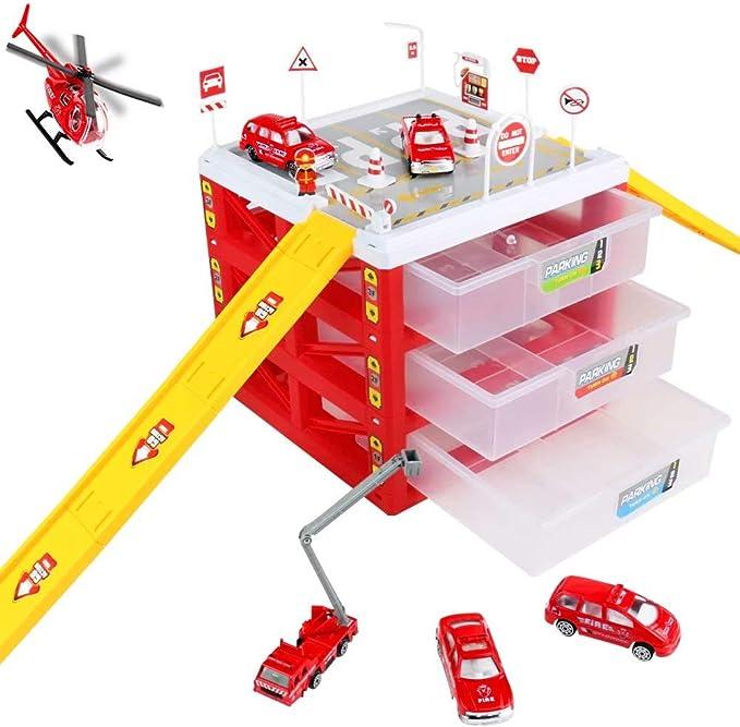 13tlg LKW Engineer Fahrzeug Feuerwehrauto Autos Parkhaus Truck Kinderspielzeug