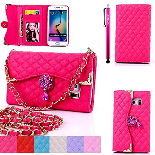 S7-Edge-Case-Firefish-Wallet-Purse-CaseHandbag-Case-Wallet-with-Card-Slots-Metal-Chain-Scratch-Resistant-Case-for-Samsung-Galaxy-S7-Edge-One-Stylus-Pen-Rose-Red