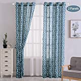 CAROMIO Moroccan Pattern Linen Blend Curtains, Geometric Lattice Print Linen Blend Grommet Window Curtain Panels for Living Room with Tiebacks – 52 x 95 Inches, Blue (2 Panels)