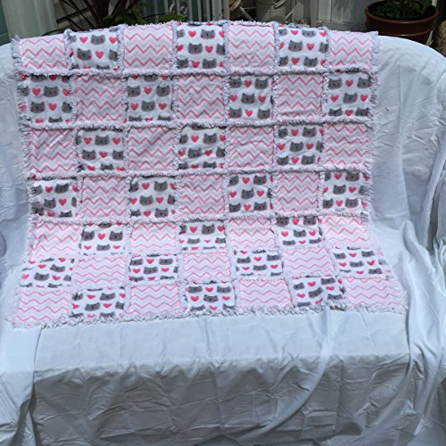Pink and grey cats flannel baby rag quilt by Laughing Heart Designs