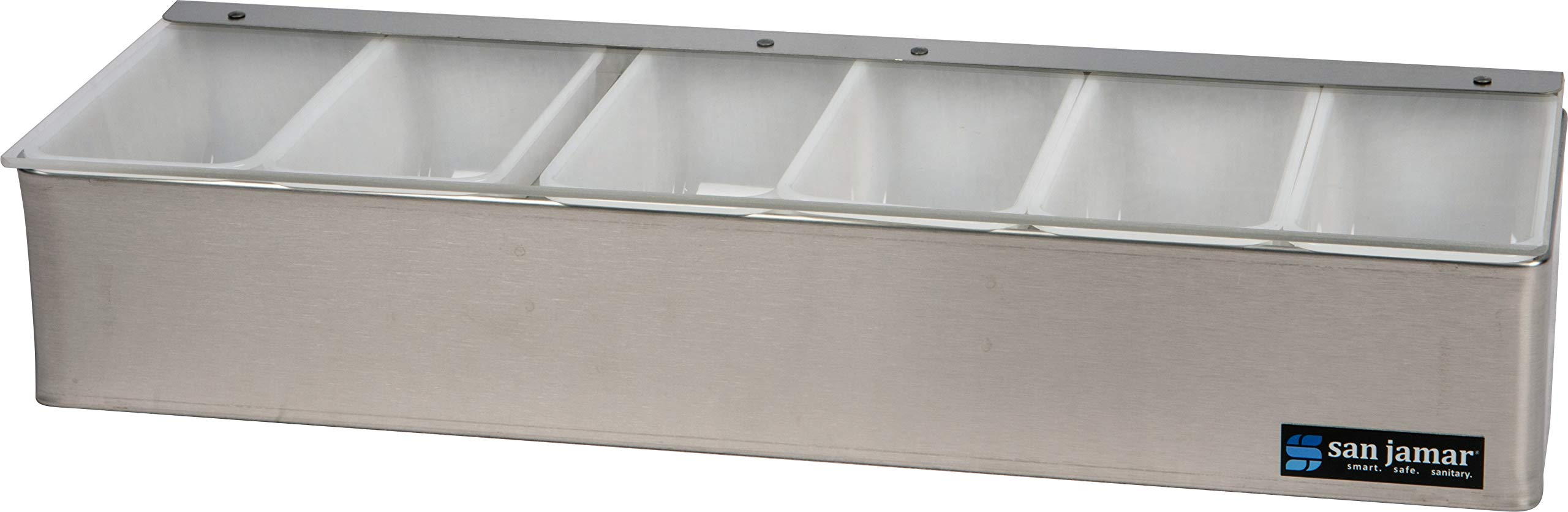 San Jamar B4186L Stainless Steel Non-Chilled Garnish Tray with Plex Lid, 18'' Width x 3-1/2'' Height x 5-3/4'' Depth