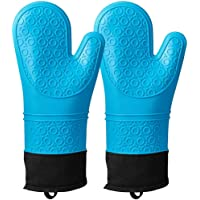 Silicone Heat Resistant Oven Mitts,Waterproof Non Slip Oven Mitt,Extra Long Professional Silicone Oven Gloves for…