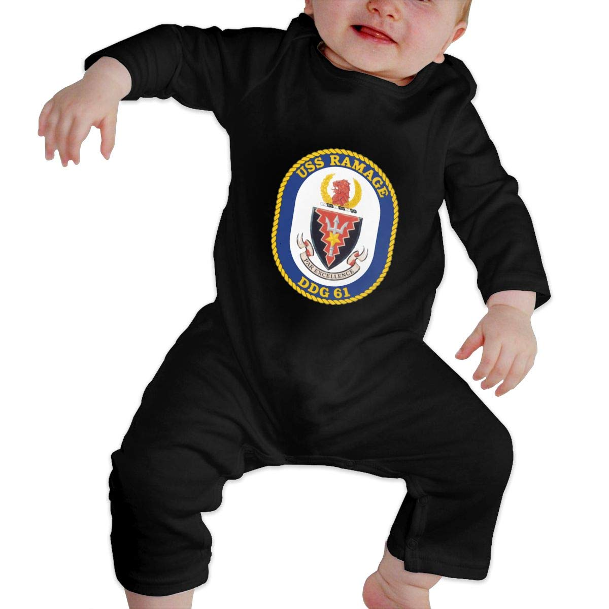 USS Ramage DDG-61 Guided Missile Destroyer Baby Long Sleeve Bodysuit Cotton Romper