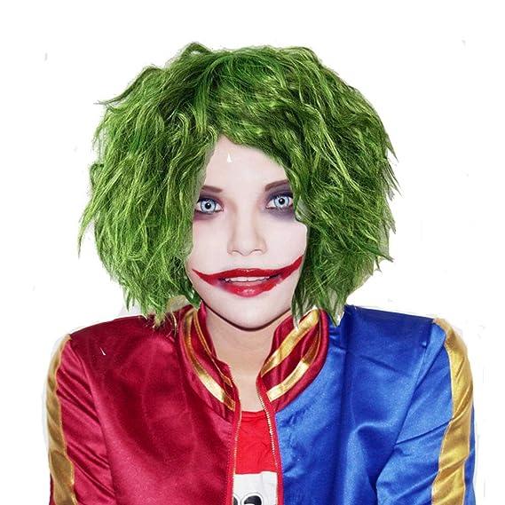 Halloween Costume Wig Joker Perruque Film Cosplay Court Herbe Verte Fluffy  Bouclés Accessoires Cheveux