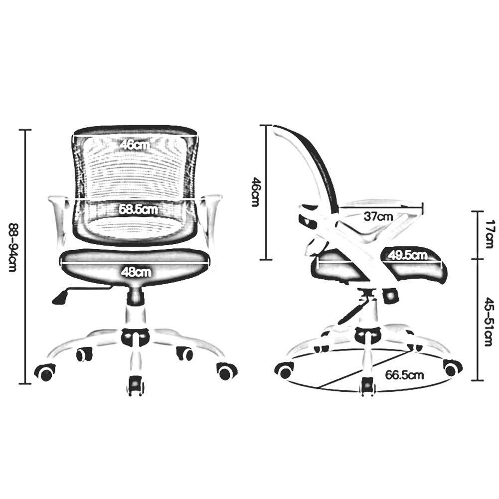 DALL kontor nätstol svängbar dator skrivbordsstol ergonomisk konferensstol lutningsfunktion ländrygg stöd justerbar höjd (färg: svart) Svart
