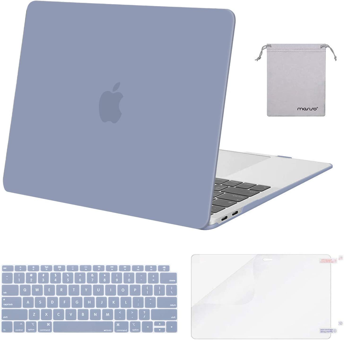 MOSISO MacBook Air 13 inch Case 2020 2019 2018 Release A2179 A1932 with Retina Display, Plastic Hard Shell&Keyboard Cover&Screen Protector&Storage Bag Compatible with MacBook Air 13, Lavender Gray