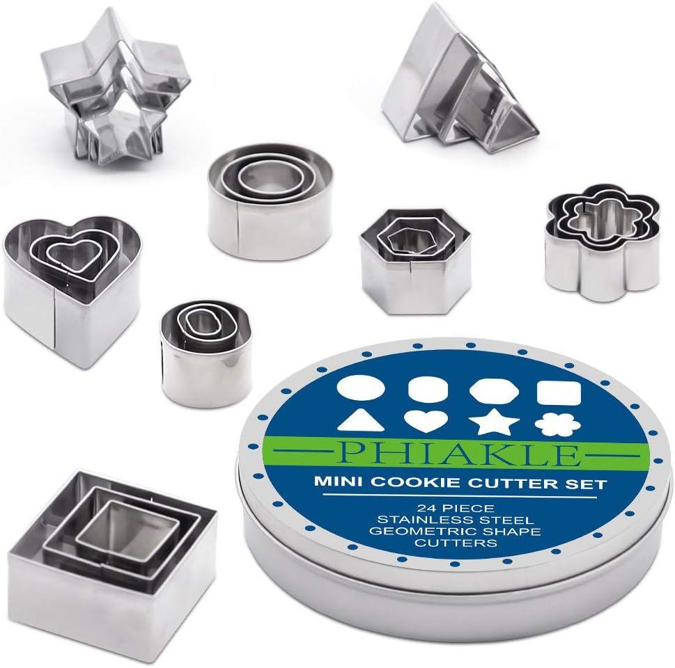 Cookie Cutters Set PHIAKLE Mini Geometric Shape Cutters for Kids DIY Stainless Steel Metal Cookie Cutters(24Pcs Mini Cookie Cutters)