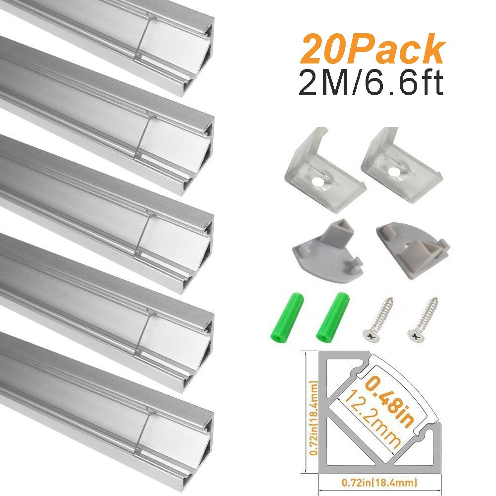 LightingWill Clear LED Aluminum Channel V Shape Corner Mount 6.6Ft/2M 20 Pack Anodized Silver Profile for <12mm 5050 3528 LED Flex/Hard Strip Lights with Covers, End Caps, and Mounting Clips TP-V03S20