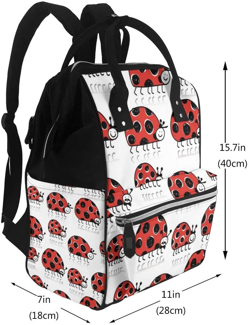 Suitable For Mom And Dad,Ladybird Family Seamless Pattern For Your Design Large Capacity Waterproof Travel Ma-na-ger,baby Care Replacement Bag Versatile Stylish And Durable NHJYU Sac /à langer