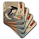 3dRose Japanese Lady Cooking Fish - Soft Coasters, set of 8 (cst_51487_2)