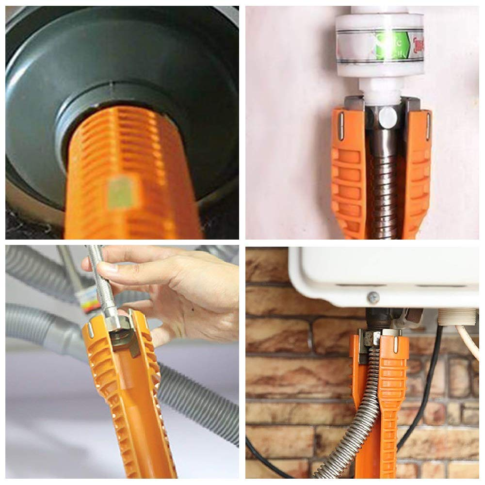 8 in 1 Faucet and Wrench Installer,Multifunctional Faucet Wrench Tool,Double Head Sink Installer Tool Water Pipe Spanner Tackle for Plumbers and Homeowners Yellow-SingleHead DOLM