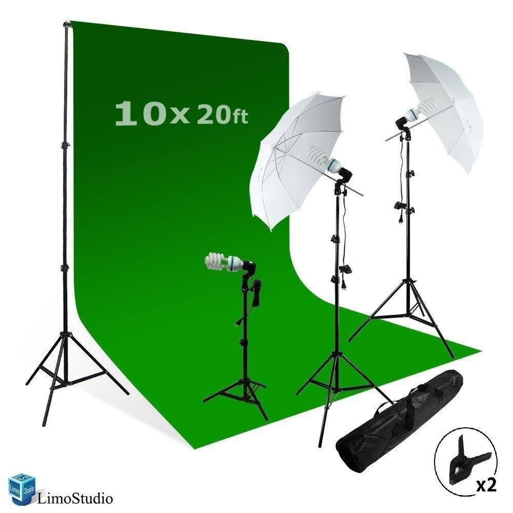 LimoStudio Chromakey Green Screen Background Support with 10' x 20' Green Muslin Backdrop + Umbrella Lighting Kit 600W, AGG408 by LimoStudio