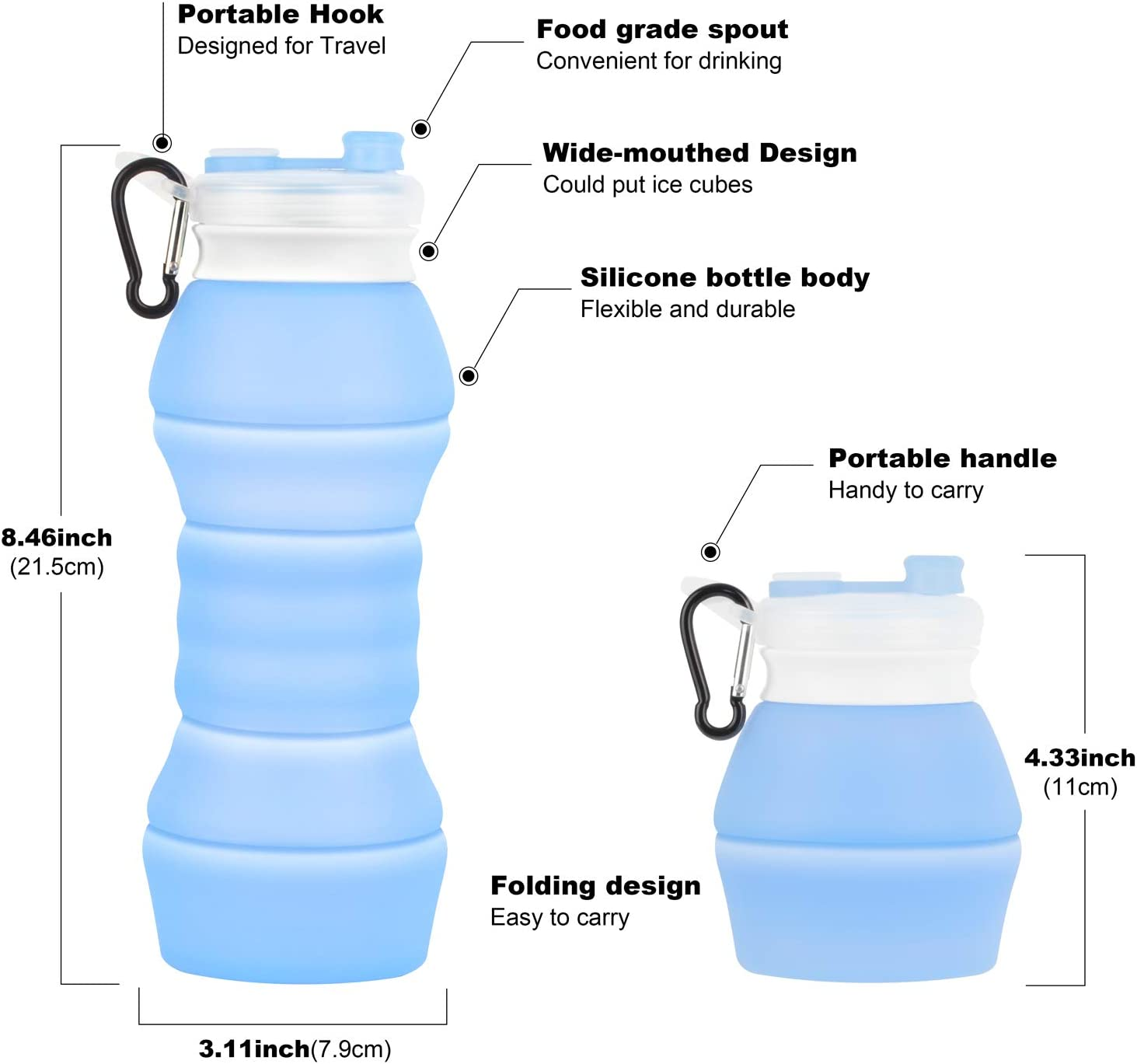 water bottles cages collapsible silicone water bottle 550 ml 18 6 oz fda approved portable blue sporting goods cub co jp 小池輪業