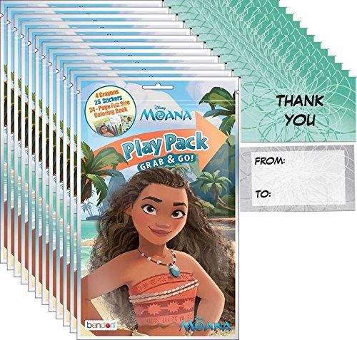 Disney Moana Grab and Go Play Packs Bundle (12 Packs) Party Favors
