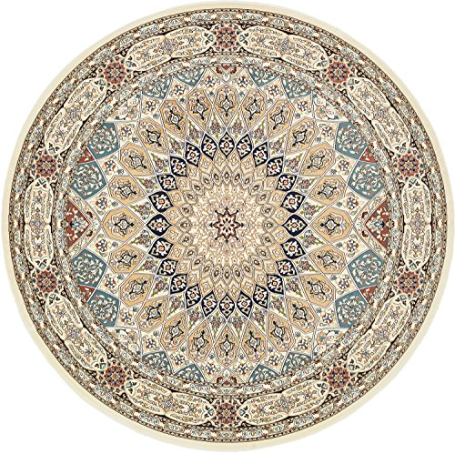 Unique Loom Narenj Collection Classic Traditional Medallion Textured Ivory Round Rug (10