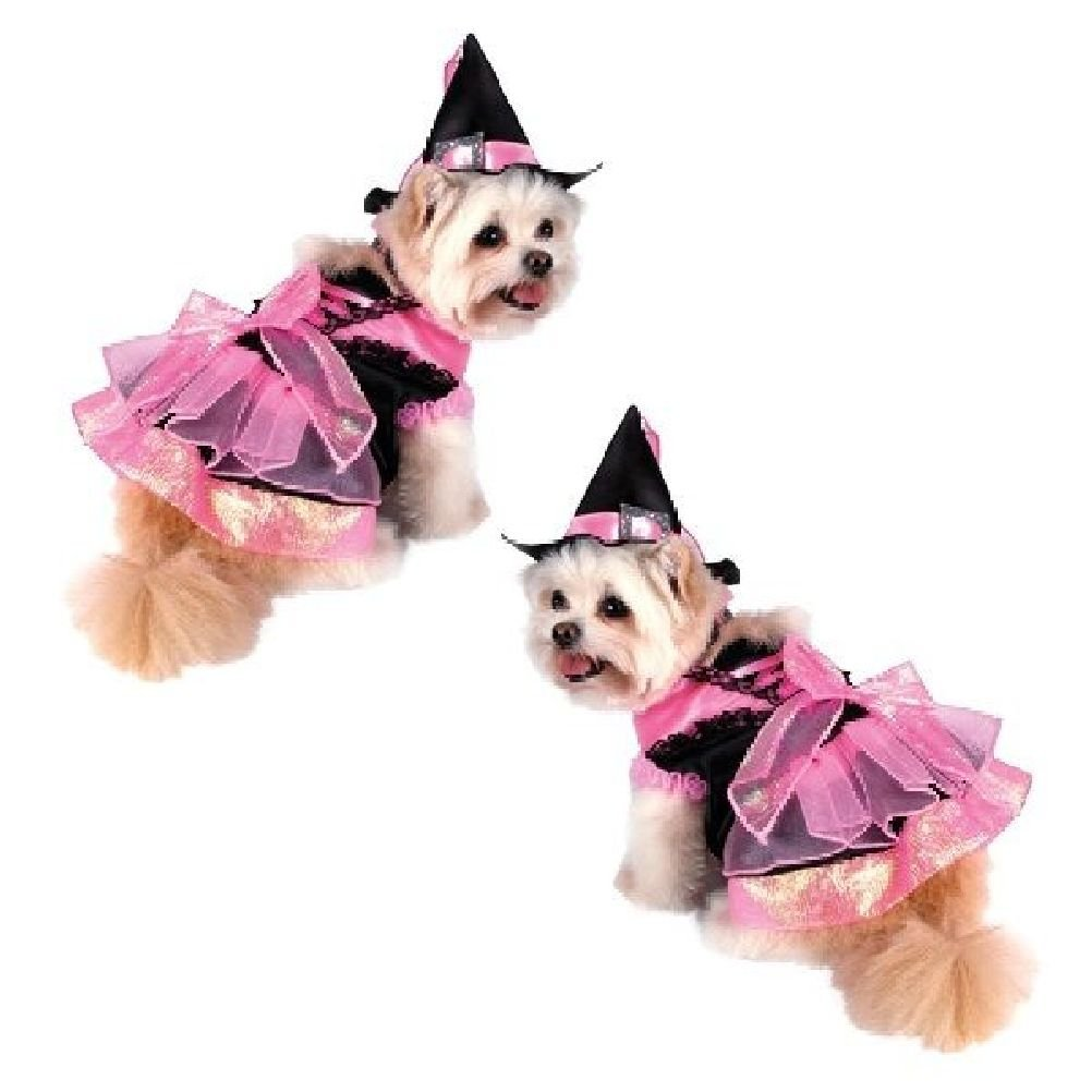 Dog Costume-Pink Shiny Witch Costumes Dogs As Witches Black Satin