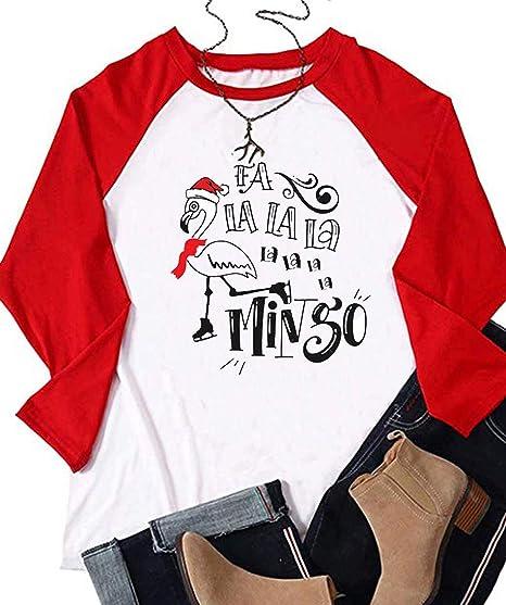 1efbee43e FA La La Mingo Shirt Women Flamingo Funny Christmas Tee Long Sleeve Raglan  Cute Tops (