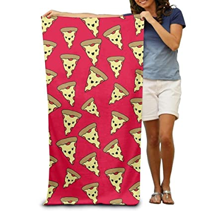 Zhark - Toalla de baño con Estampado de Pizza, Color Rojo y Amarillo, Suave