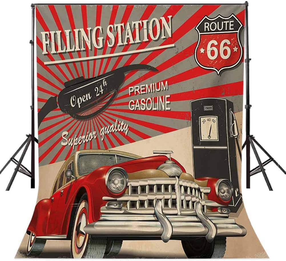 Cars 10x15 FT Photo Backdrops,Poster Style Image Gasoline Station Commercial Kitschy Element Route 66 Print Background for Baby Shower Bridal Wedding Studio Photography Pictures Vermilion Beige