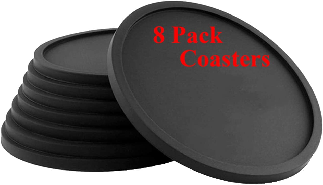 Drink Coasters 8 Set of Silicone Gel Material Cup mats,Beverage Cups,Tabletop Protection for Any Table Type,Perfect Soft Coaster Fits Any Size of Drinking Glasses,with Anti-Skid Function,Easy to Clean