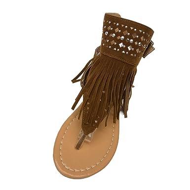 8146df3e0 Amazon.com  Nevera Women s Summer Tassel Shoes Girls Flip Flops Beach  Bohemia Flat Sandals  Clothing
