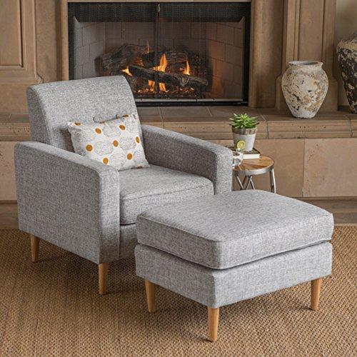 Christopher Knight Home 302596 Samuel Mid Century Modern Light Grey Tweed Fabric Club Chair and Ottoman Set,