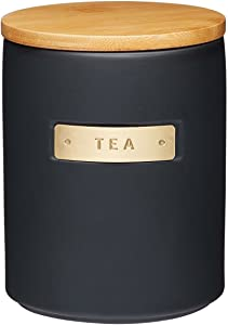 Masterclass Stoneware and Brass Effect Tea Canister Storage Jar with Bamboo Lid Black 1 Litre 33.81 fl oz