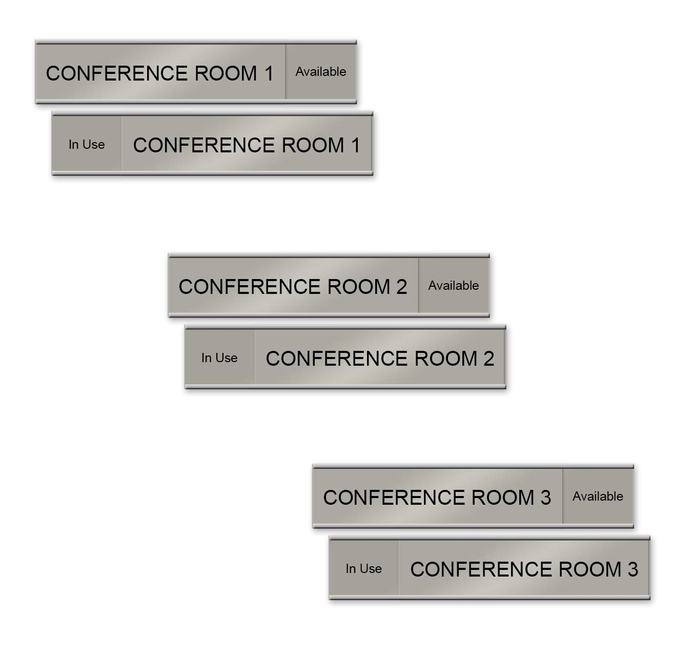 Numbered Conference Room Slider Signs, 10'' x 2'', Silver (Conference Room Set 1, 2, 3) by NapTags