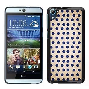 EJOY---Cubierta de la caja de protección para la piel dura ** HTC Desire D826 ** --Modelo de lunar Spots Azul Blanco Retro