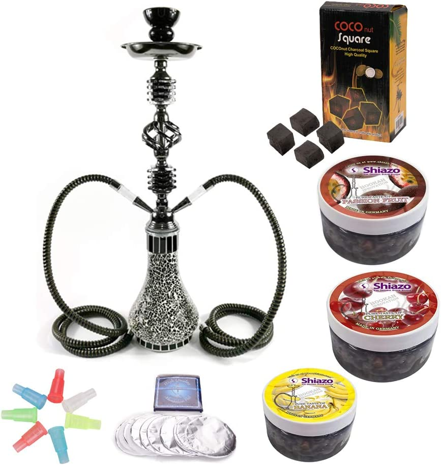 Shiazo Flavour Steam Stones Ice shock Lemon Watermelon Coals and Tinfoil DXP 21.65 2 Hose Shisha Hookah Party Smoking Set,with 3x100gr