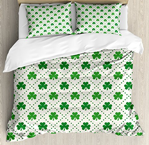 Ambesonne Irish Duvet Cover Set Queen Size, Four Leaf Shamrock Clover Flowers with Dotted Dashed Lines National Culture Symbol, Decorative 3 Piece Bedding Set with 2 Pillow Shams, Green (White Four Leaf Clover)