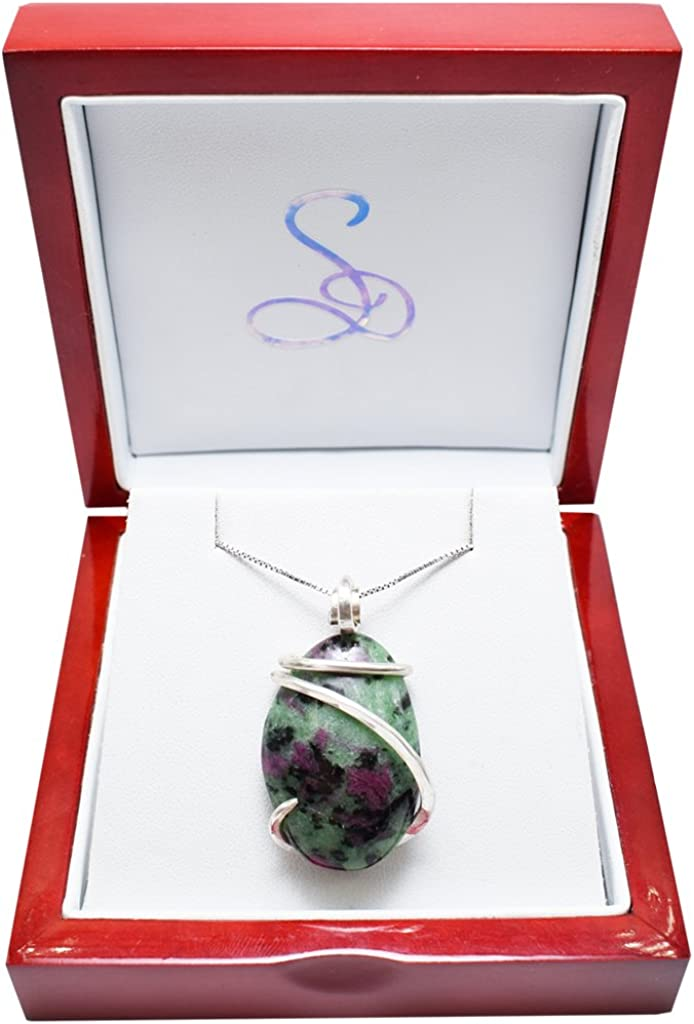 Silver Jewelry Pendant Ruby Zoisite Pendant Gemstone Natural Oval Shape Solid 925 Sterling Silver Jewellery Pendant Necklaces PK74