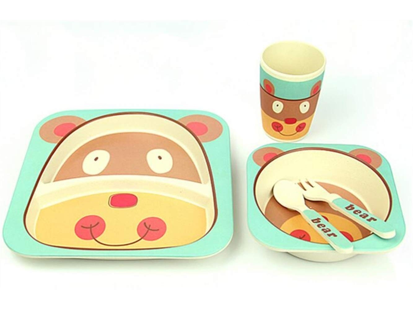FERFERFERWON Baby Tischset Bambusfaser Bierschale Kinder Teller Gabel Löffel Tasse Set für Kinder (grün und braun) Kleinkind Kinder