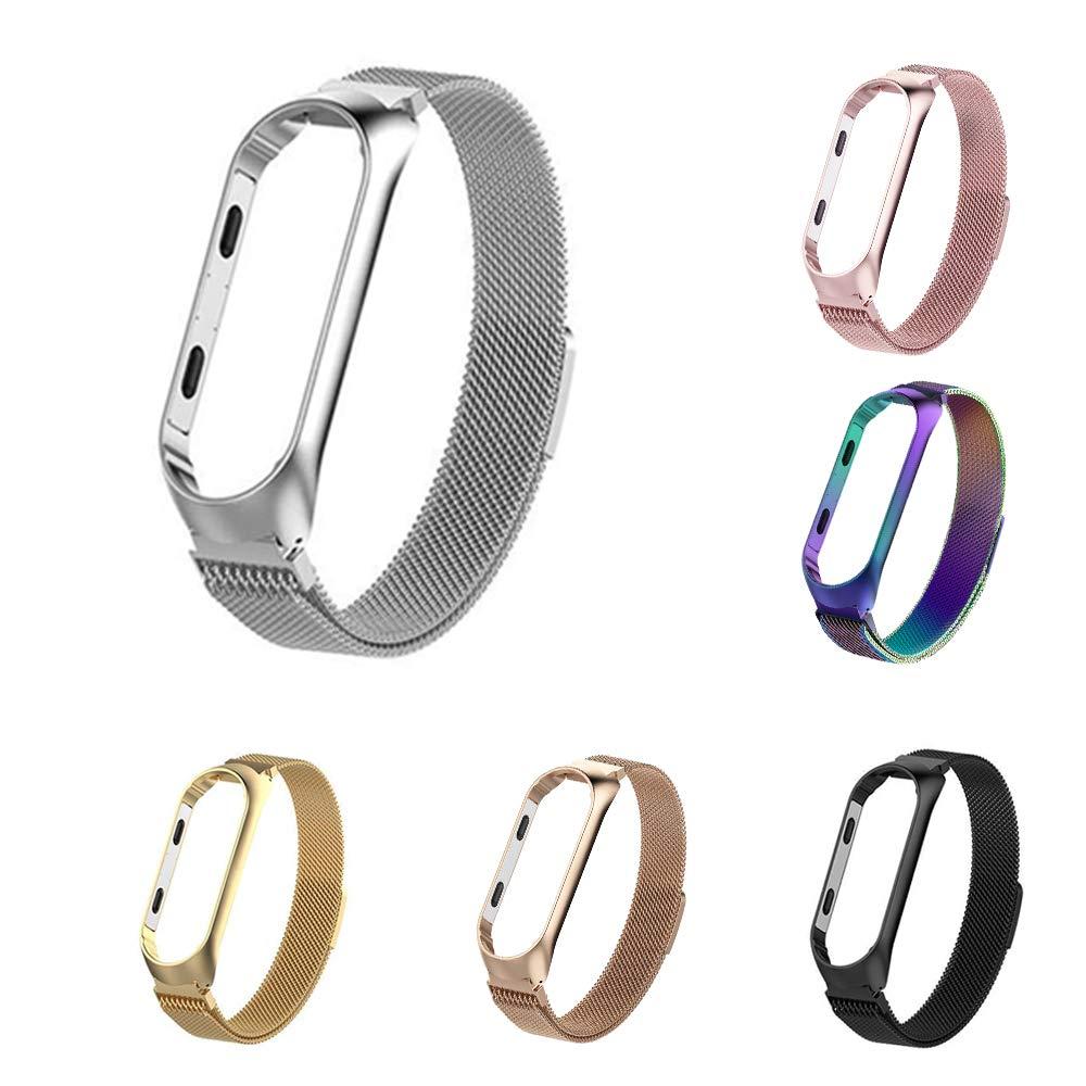 Milanese Loop Pulseras de Acero Inoxidable Wristband Repuesto Bandas Xiaomi Mi Band 3 Fitness con Cerradura Im/án /Único,Oro Rosa Simpeak Compatible Xiaomi Mi Band 3 Correa 5.5-6.7 Pulgadas