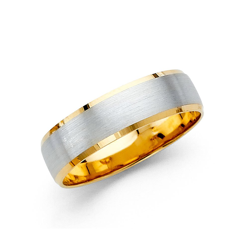 Wellingsale 14k Two 2 Tone White and Yellow Gold Polished Satin 6MM Beveled Edge Comfort Fit Wedding Band Ring - Size 10.5