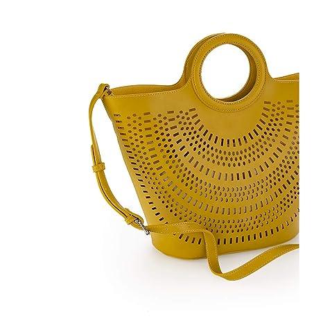 PACO MARTINEZ | Bolso tote de mano mujer amarillo perforado con asa bandolera |Inluye asa bandolera regulable