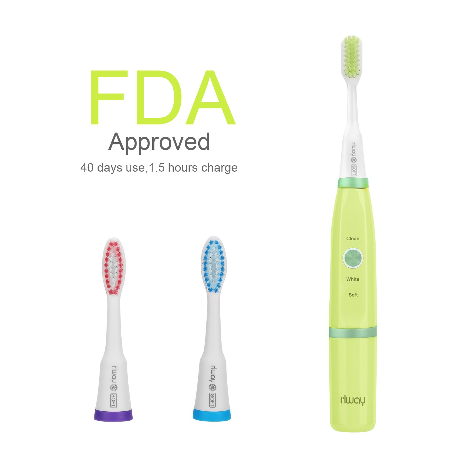 Electric Toothbrush for Kids or Adults,Deep Cleaning as Dentist USB Rechargeable in 1.5 Hours Last 40 Days with 3 Replacement Heads and Super Waterproof Function by Rlway