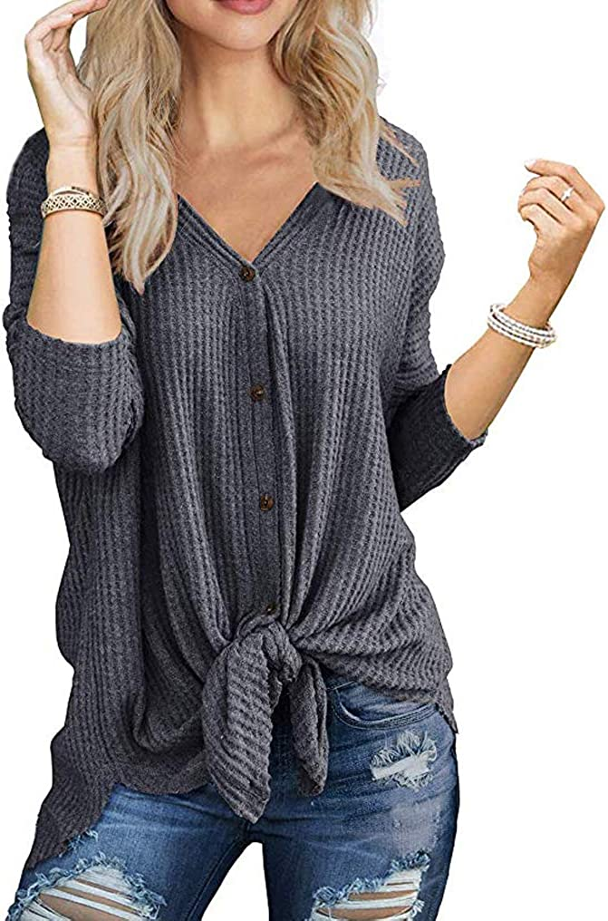 Famulily Womens Henley Sweater Waffle Knit Tunic Tops Loose Long Sleeve Snap Buttons V Neck Pullover Shirts