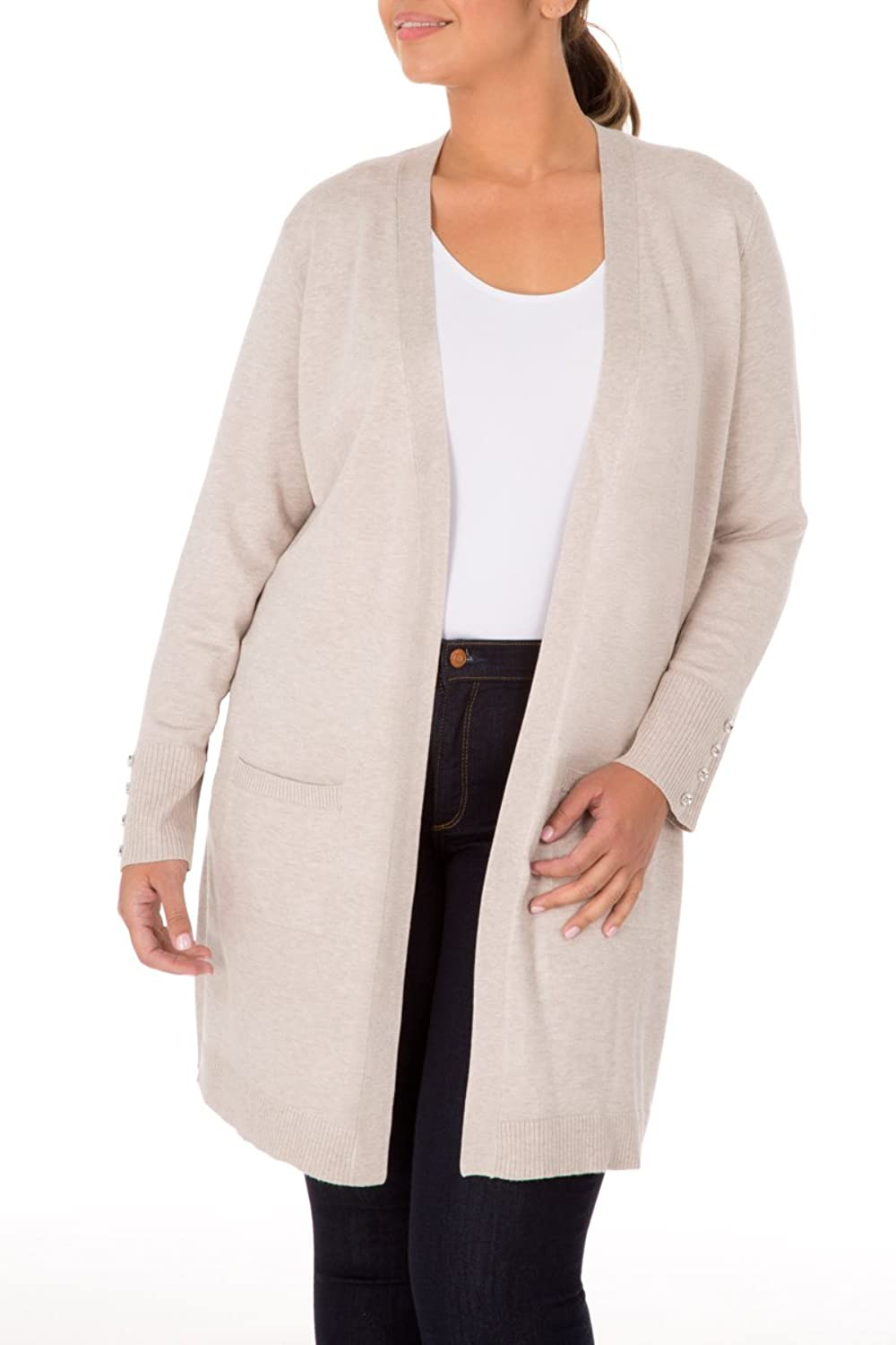 89th&Madison Comfy and Cozy Long Open Front Plus Size Duster Cardigan Sweater
