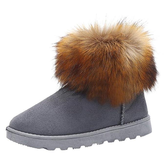 Botas de Nieve para Mujer, Zapatillas de Mujer Planas, Tobillo de Invierno