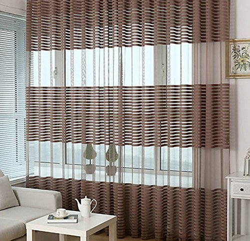 (Simbra Wrap Knitting Rod Pocket Gauzy Striped Sheer Curtains for Bedroom Transparent Voile for Kid's Room Drapes Window Treatment for Living Room (1 Panel, W50 x L95 Inches, Dark Brown) )