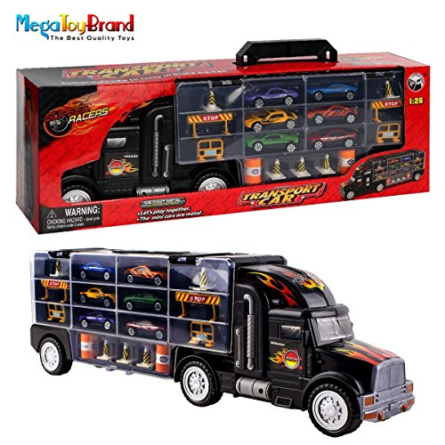 Car Toy Hauler (MegaToyBrand Hauler Transporter Car Carrier Truck Toy with 6 Cars Inside, 28 slots & Highway Accessories)
